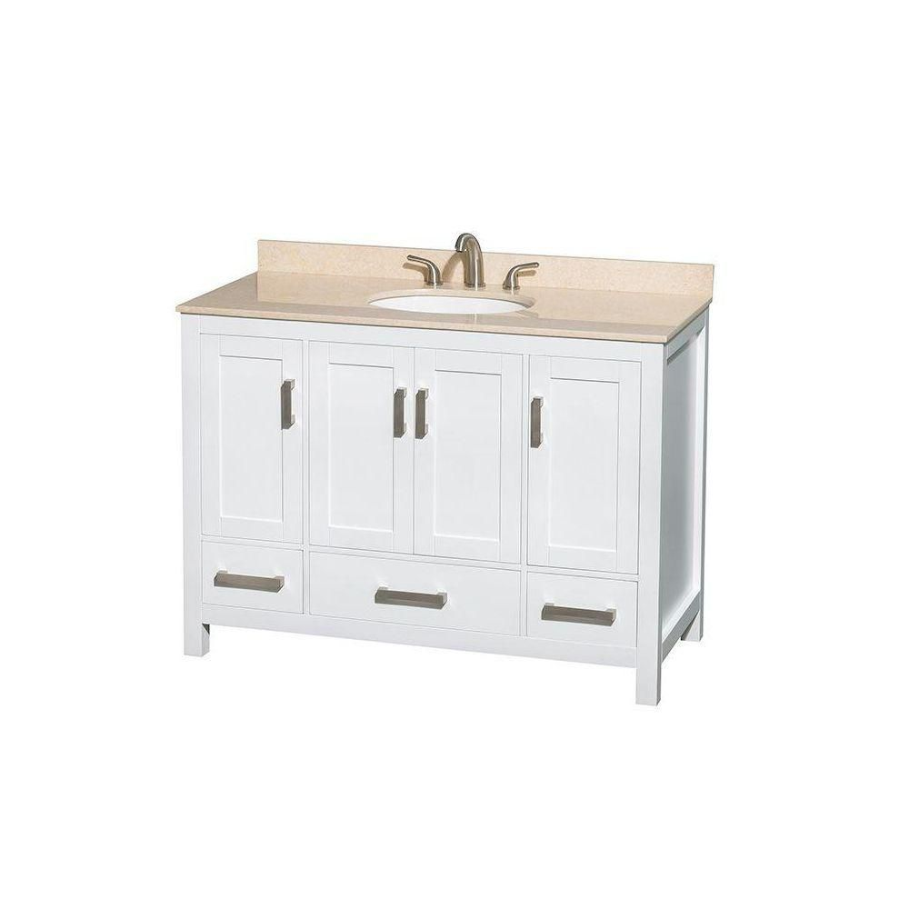 Sheffield 48-inch W Vanity in White Finish with Marble Top in Ivory