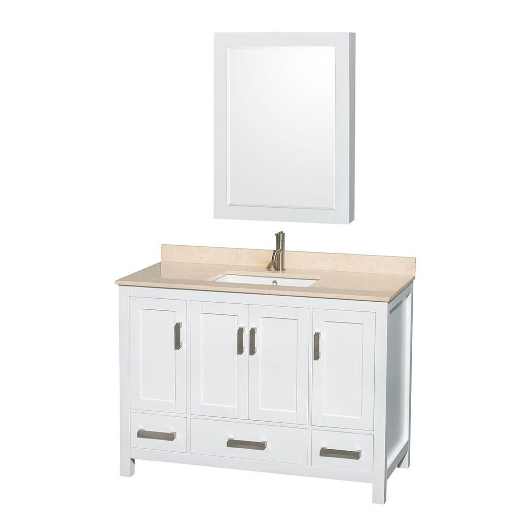 Wyndham Collection Sheffield 48-inch W 3-Drawer 4-Door Vanity in White With Marble Top in Beige Tan With Mirror