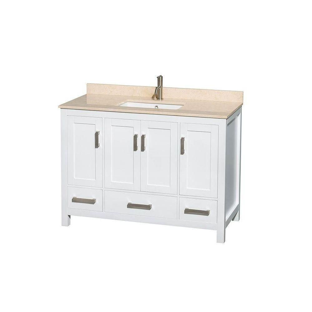 Sheffield 48-inch W Vanity in White with Marble Top in Ivory