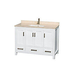 Wyndham Collection Sheffield 48-inch W 3-Drawer 4-Door Freestanding Vanity in White With Marble Top in Beige Tan