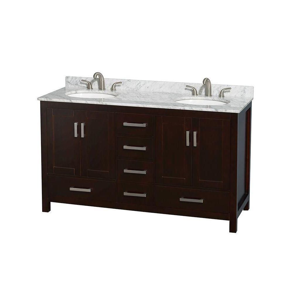 Sheffield 60-inch W Double Vanity in Espresso with Marble Top in Carrara White