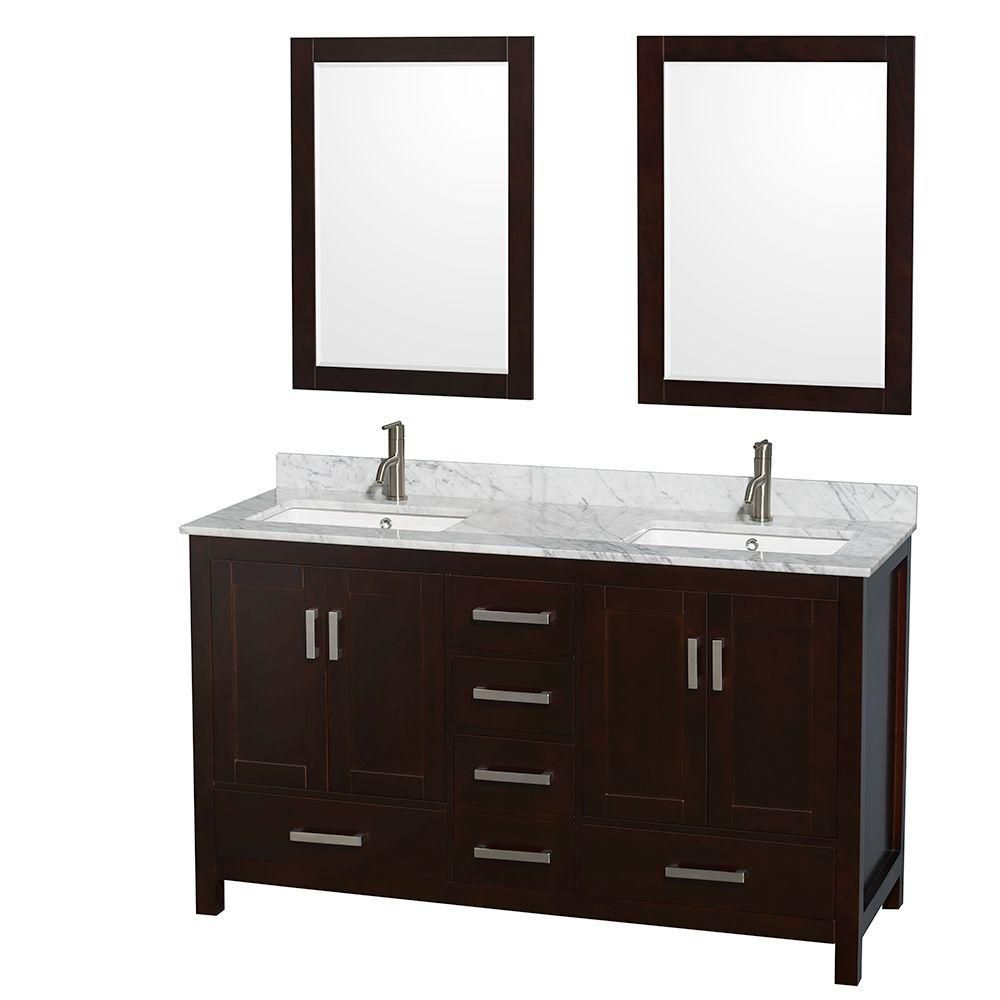 Sheffield 60-inch W Double Vanity in Espresso with Marble Top in Carrara White and Mirrors