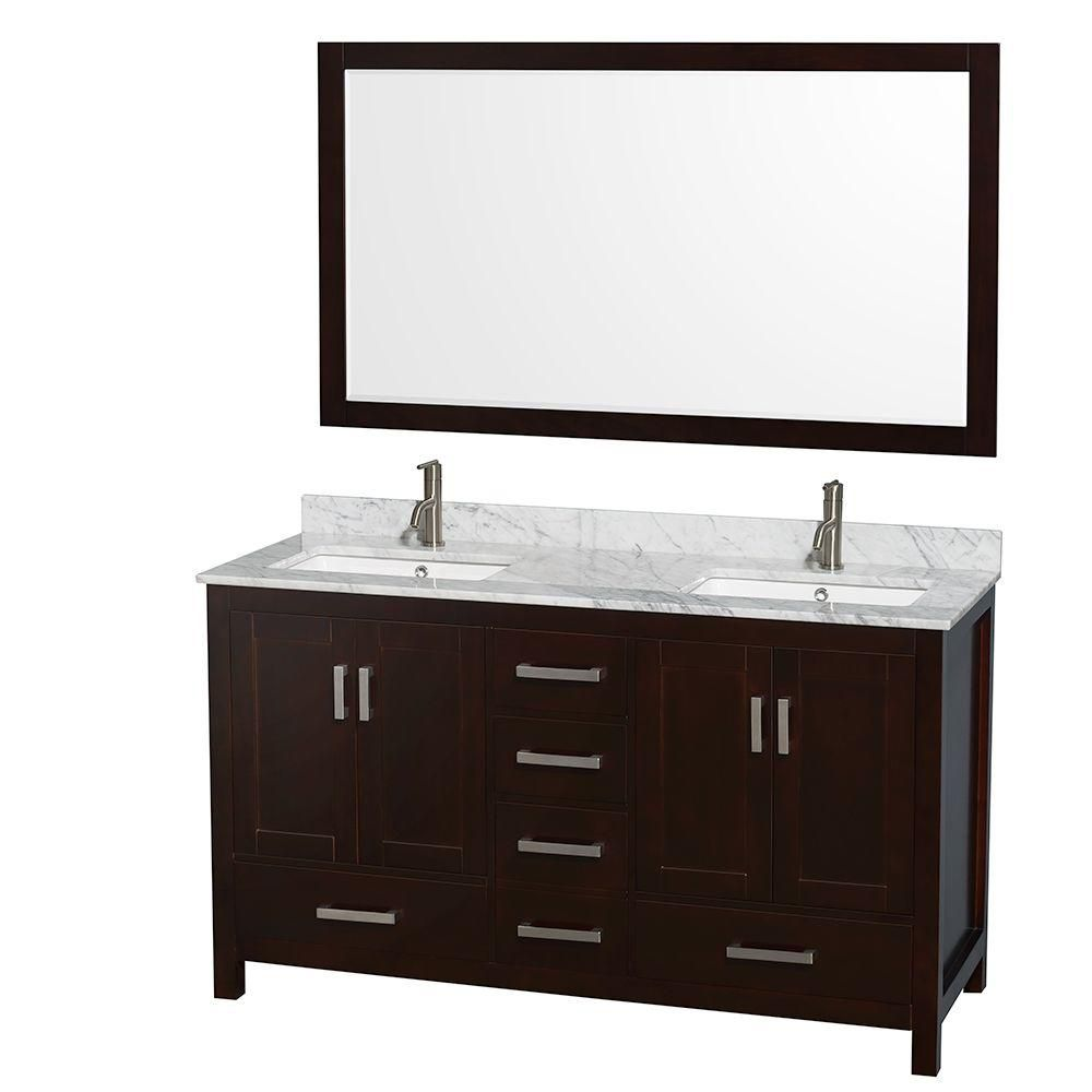 Sheffield 60-inch W Double Vanity in Espresso with Marble Top in Carrara White and Mirror