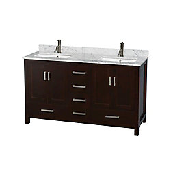 Wyndham Collection Sheffield 60-inch W 5-Drawer 4-Door Vanity in Brown With Marble Top in White, Double Basins