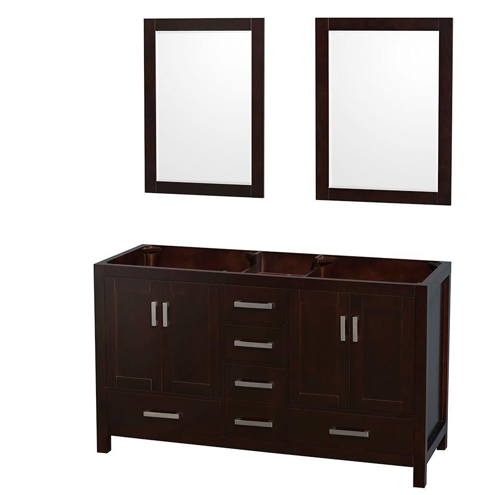 Sheffield 59-Inch  Double Vanity Cabinet with 24-Inch  Mirrors in Espresso