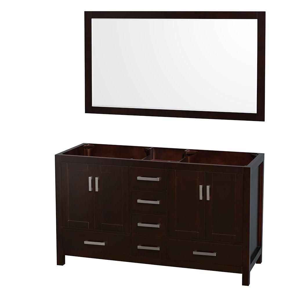 Sheffield 59-Inch  Double Vanity Cabinet with 58-Inch  Mirror in Espresso