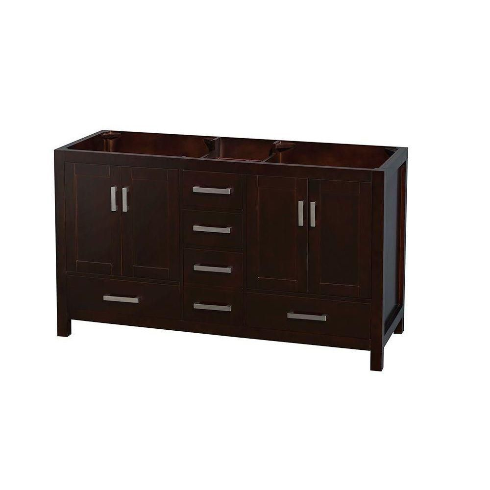 Wyndham Collection Sheffield 60-Inch  Double Vanity Cabinet in Espresso