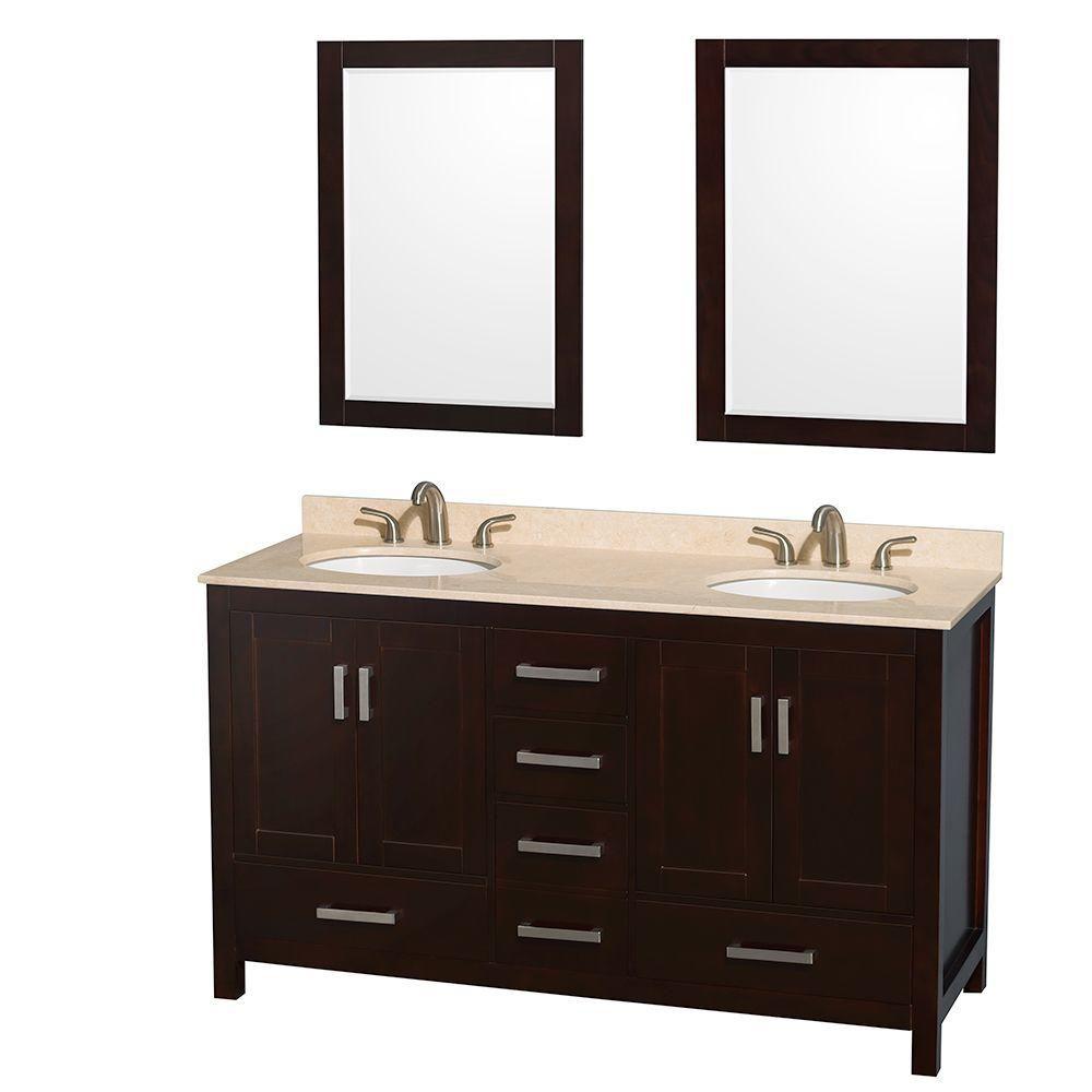 Sheffield 60-inch W 5-Drawer 4-Door Vanity in Brown With Marble Top in Beige Tan, Double Basins