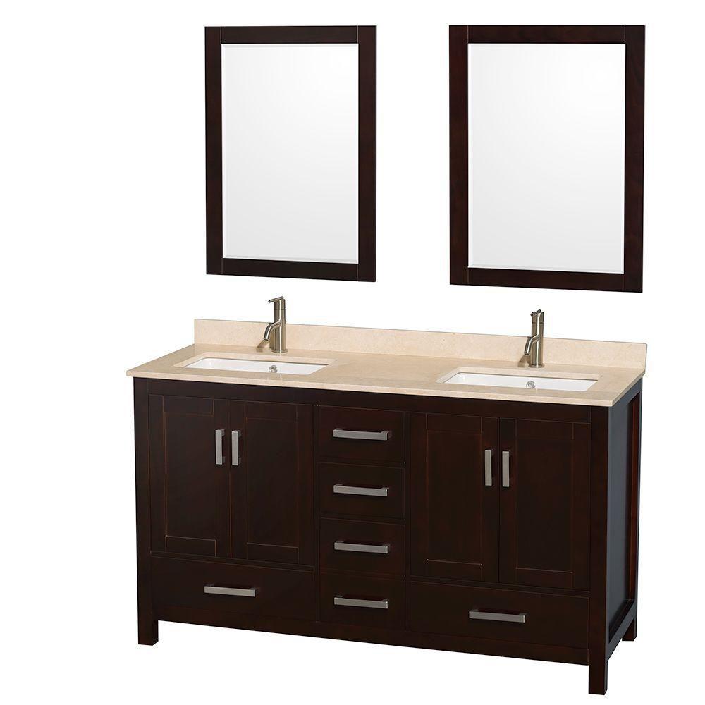 Sheffield 60 po Meuble dbl. espresso et revêtement en marbre ivoire et 24 po Miroirs