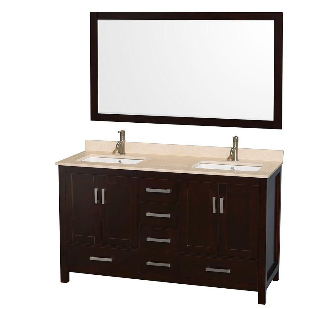 Wyndham Collection Sheffield 60-inch W 5-Drawer 4-Door Vanity in Brown With Marble Top in Beige Tan, Double Basins