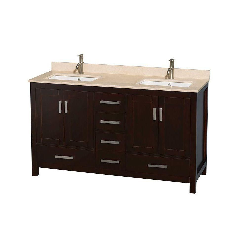 Sheffield 60-inch W Double Vanity in Espresso with Marble Top in Ivory