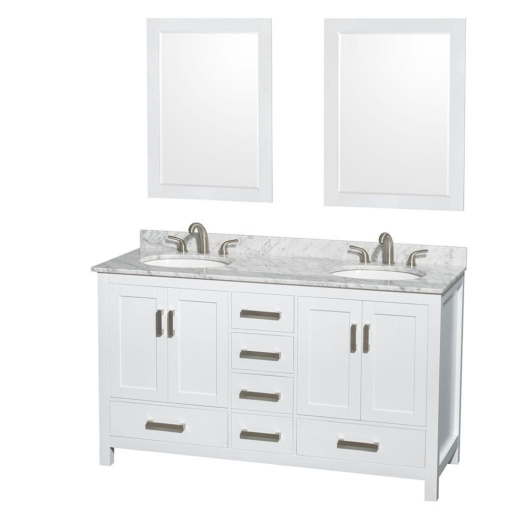 Sheffield 60-inch W Double Vanity in White with Marble Top in Carrara White and Mirrors