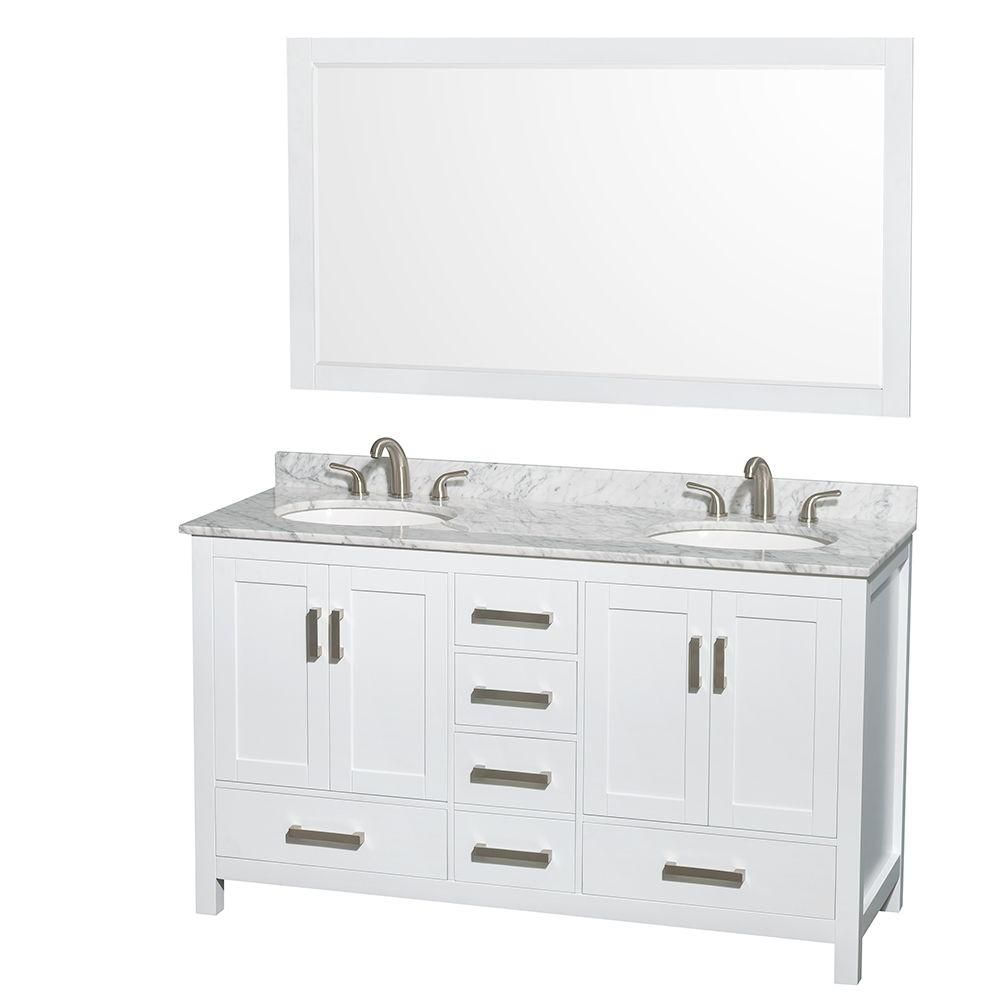 Sheffield 60-inch W Double Vanity in White with Marble Top in Carrara White and Mirror