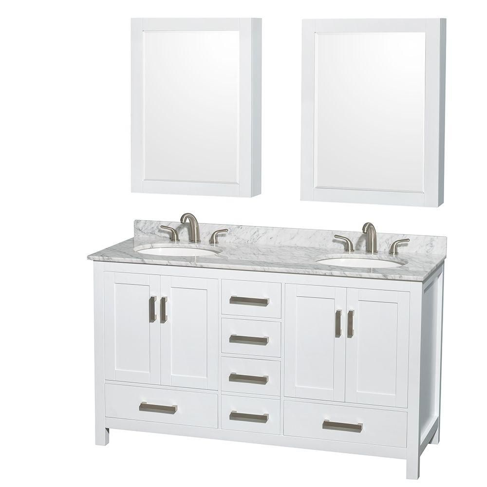 Sheffield 60-inch W Double Vanity in White with Marble Top in Carrara White and Medicine Cabinets