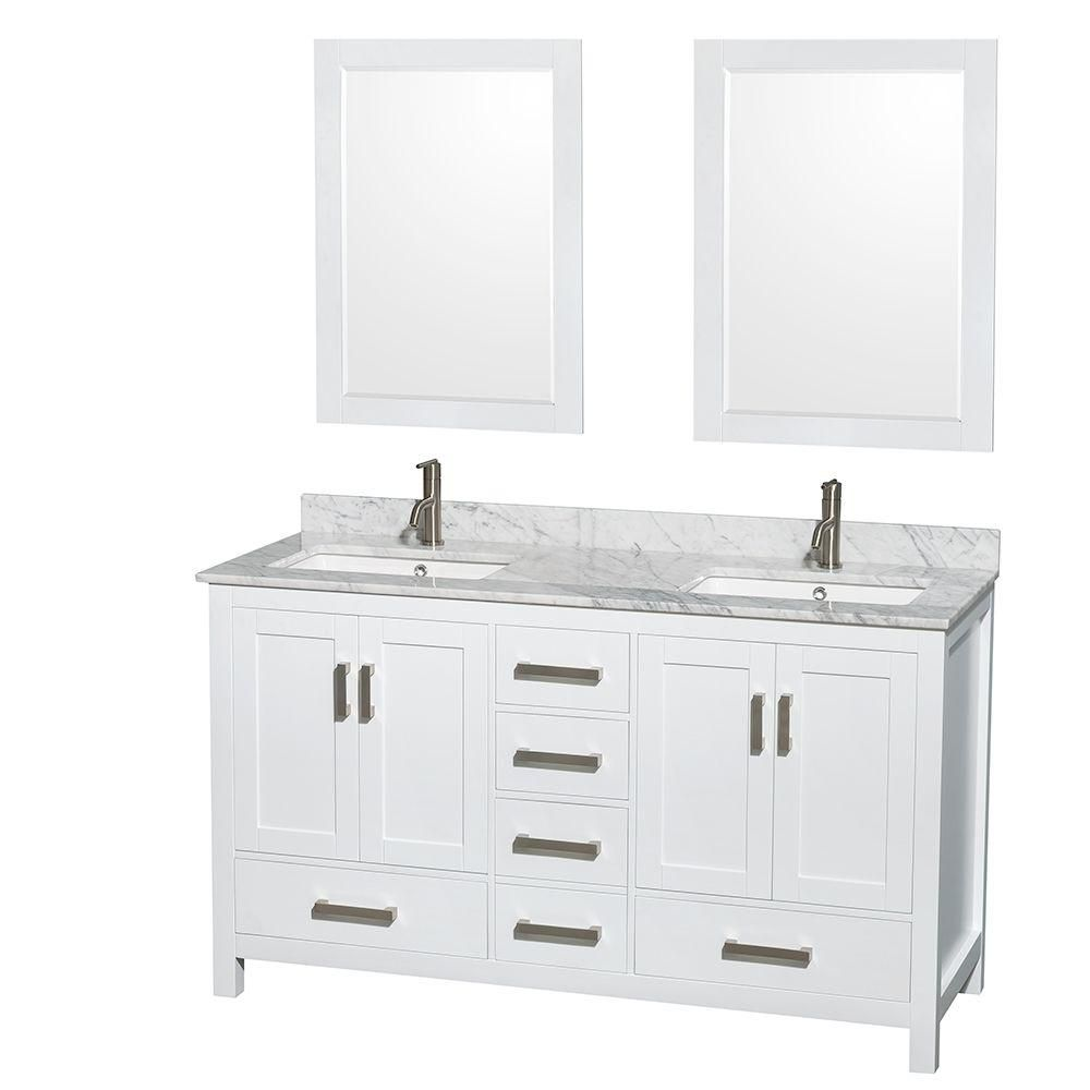Sheffield 60-inch W Double Vanity in White with Marble Top in Carrara White and 24-inch Mirrors
