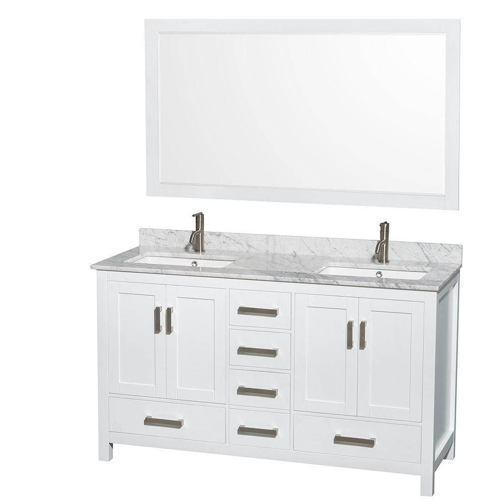 Sheffield 60-inch W Double Vanity in White with Marble Top in Carrara White and 58-inch Mirror