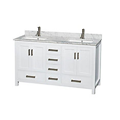 Sheffield 60-inch W 5-Drawer 4-Door Vanity in White With Marble Top in White, Double Basins