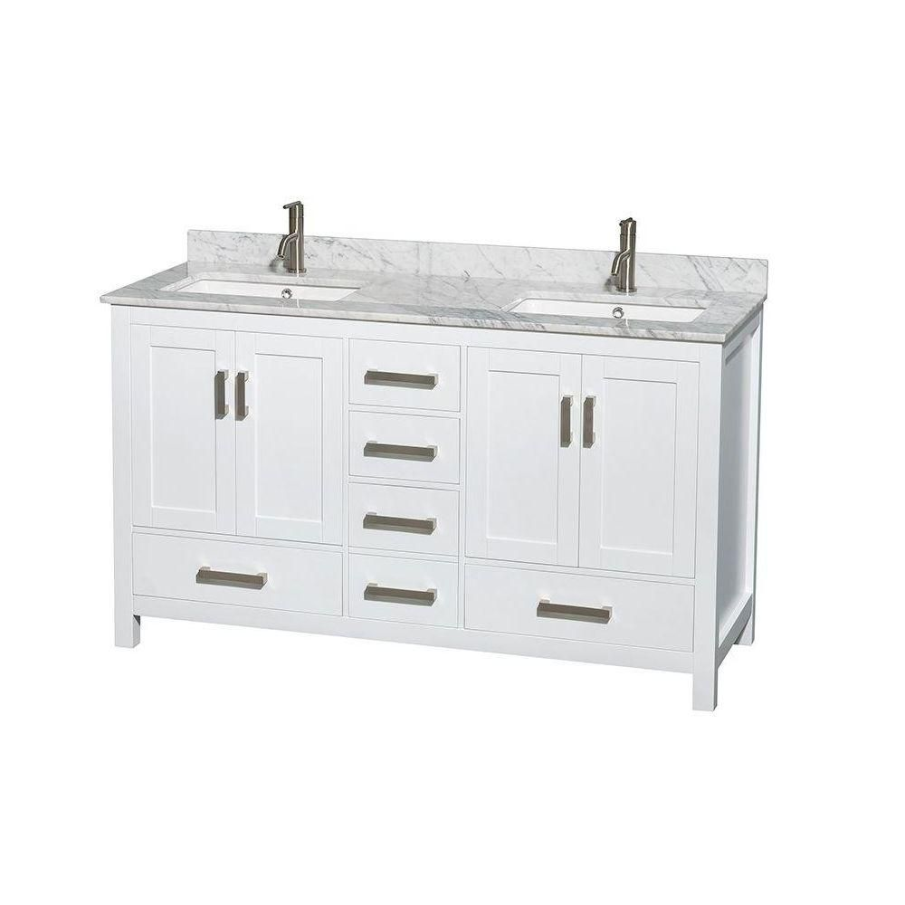 Sheffield 60-inch W Double Vanity in White with Marble Top in Carrara White