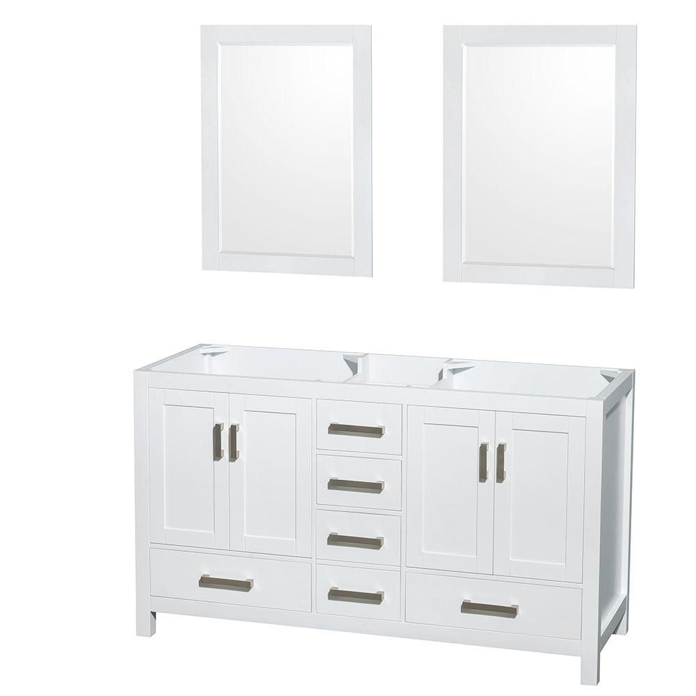 Sheffield 59-Inch  Double Vanity Cabinet with 24-Inch  Mirrors in White