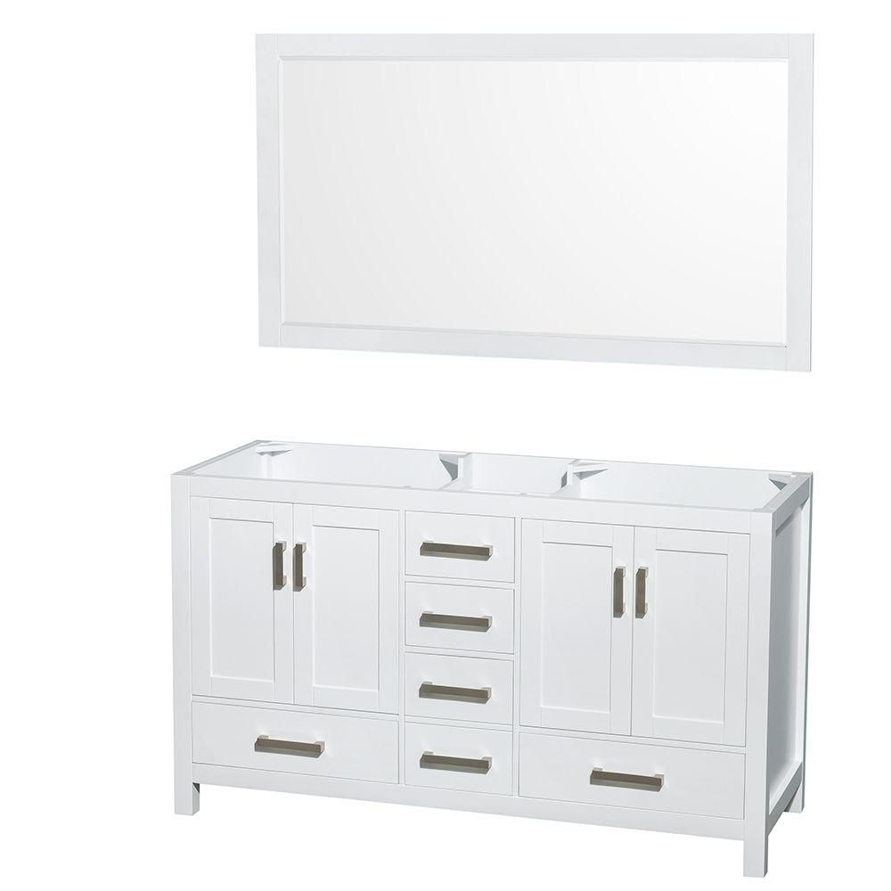 Sheffield 59-Inch  Double Vanity Cabinet with 58-Inch  Mirror in White