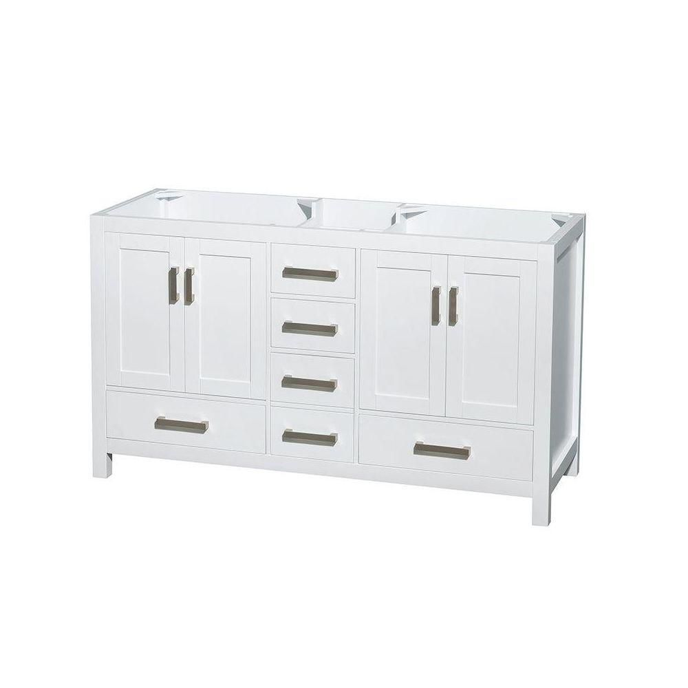 Wyndham Collection Sheffield 59-Inch  Double Vanity Cabinet in White