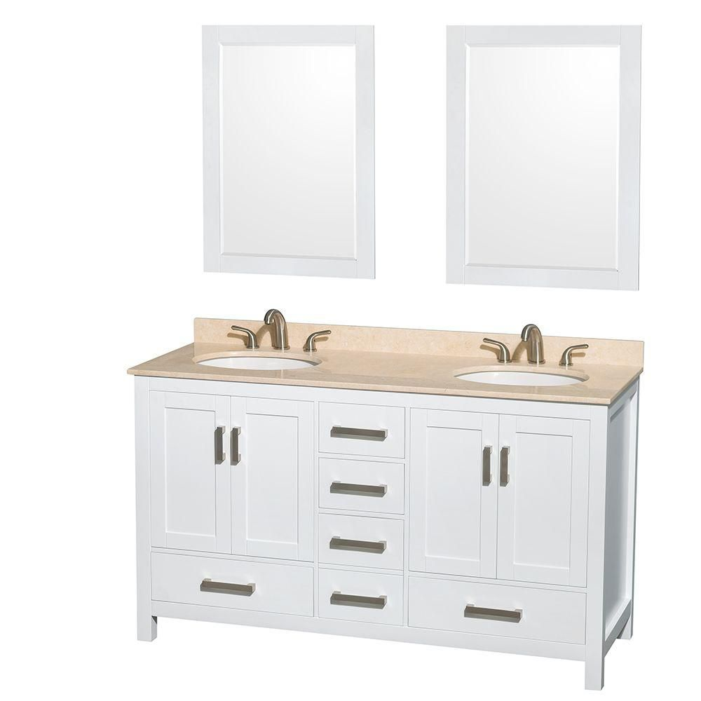 Sheffield 60-inch W Double Vanity in White with Marble Top in Ivory and Mirrors