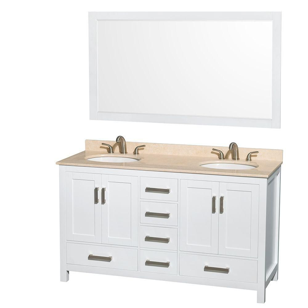 Sheffield 60-inch W Double Vanity in White with Marble Top in Ivory and Mirror