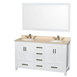Wyndham Collection Sheffield 60-inch W 5-Drawer 4-Door Vanity in White With Marble Top in Beige Tan, Double Basins