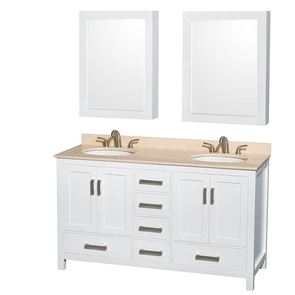 Sheffield 60-inch W Double Vanity in White with Marble Top in Ivory and Medicine Cabinets