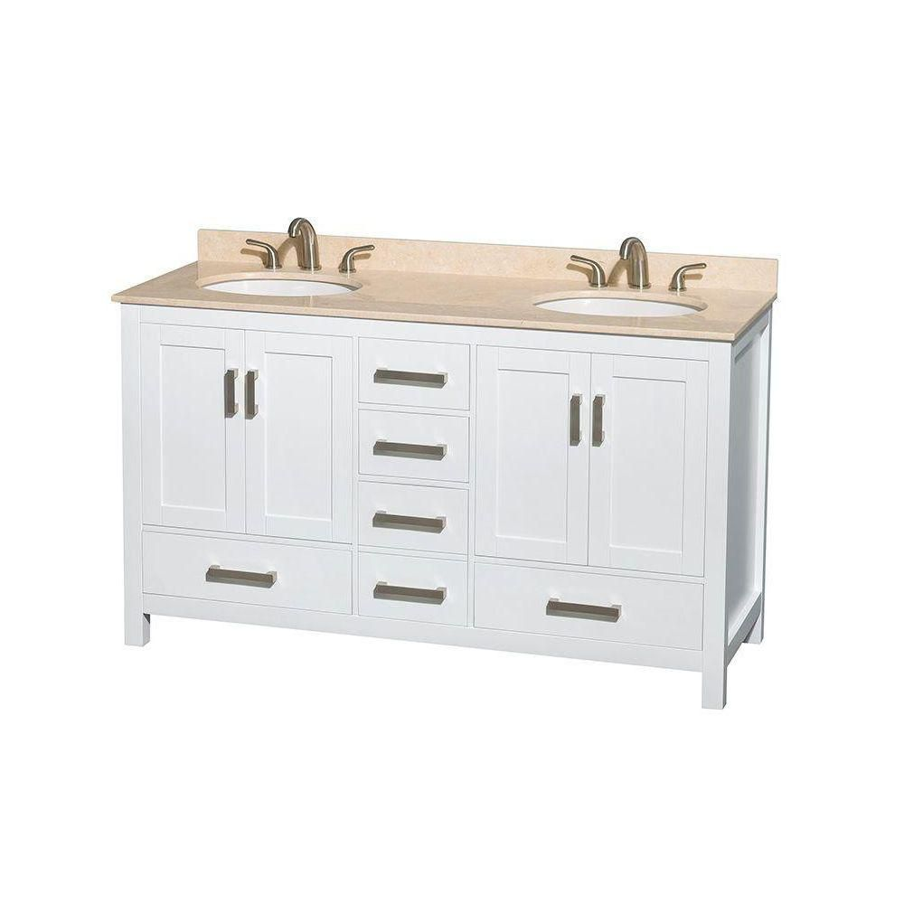 Sheffield 60-inch W Double Vanity in White with Marble Top in Ivory