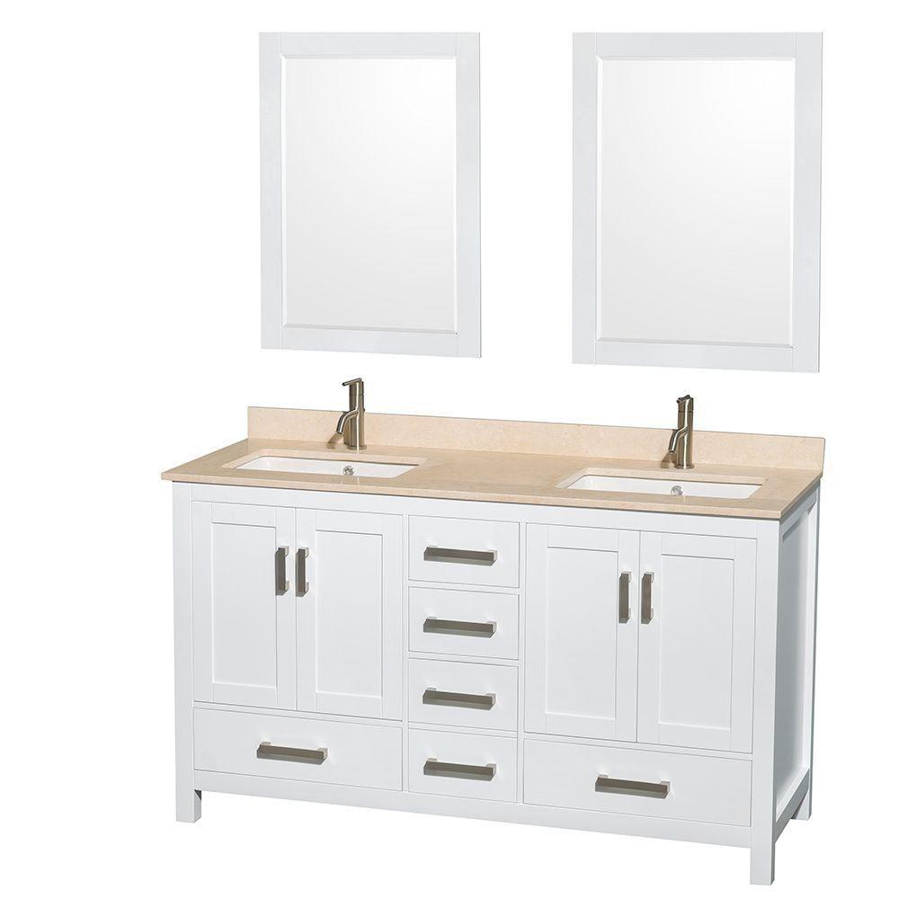 Sheffield 60 po Meuble blanc dbl. et revêt. en marbre ivoire, évier ovale et de 24po Miroirs