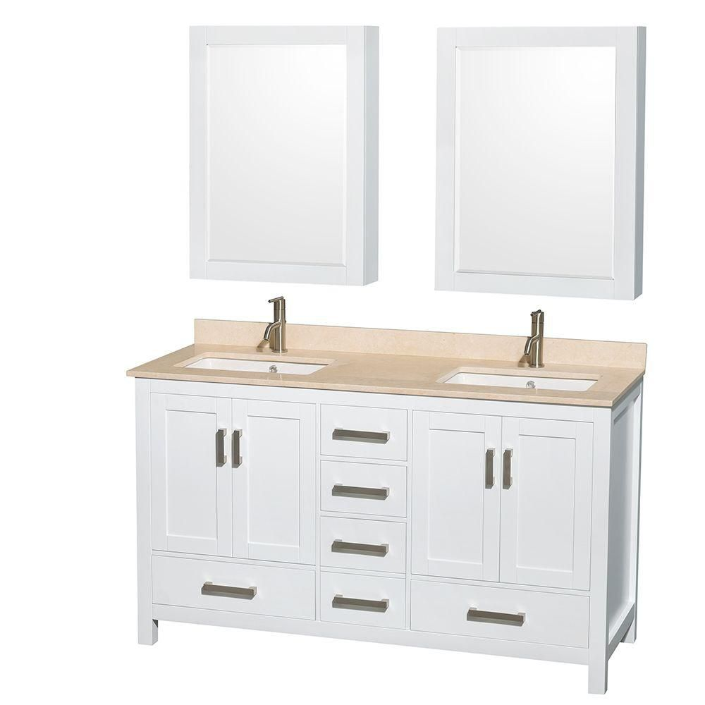 Sheffield 60-inch W 5-Drawer 4-Door Vanity in White With Marble Top in Beige Tan, Double Basins