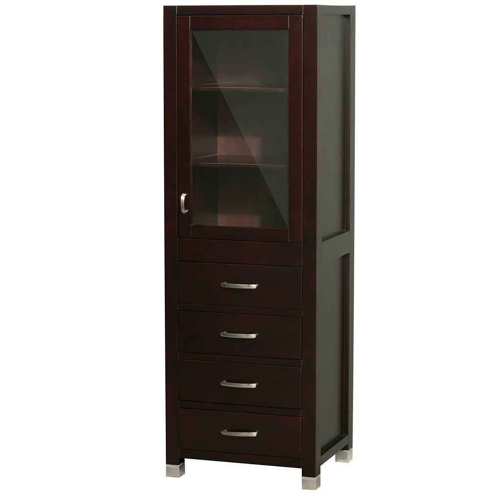 Shaina 24 In. W x 17 In. D x 71 In. H Linen Cabinet in Espresso WCV206ES Canada Discount