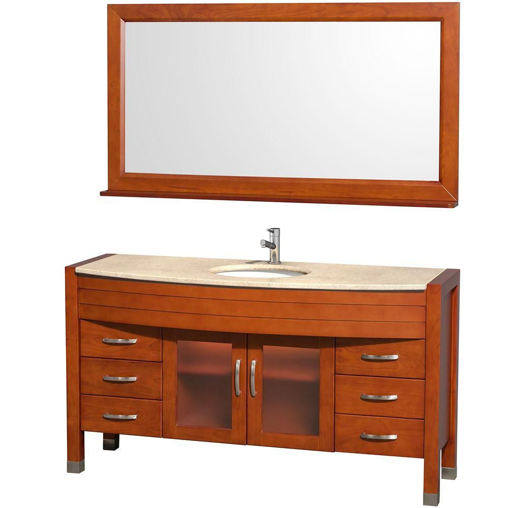 Daytona 60-inch W Vanity in Cherry with Marble Top in Ivory and Porcelain Sink