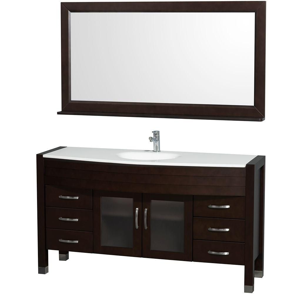 Daytona 60-inch W Vanity in Espresso Finish with Stone Top in White