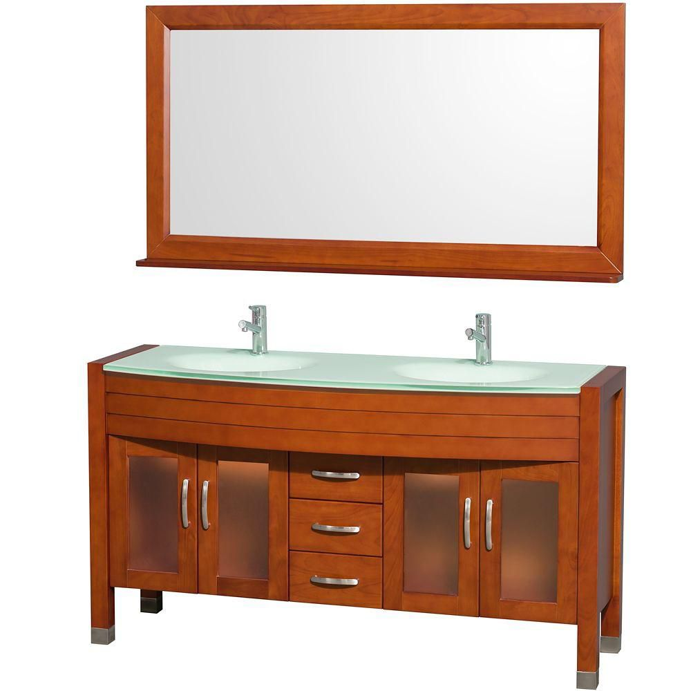 Daytona 60-inch W Double Vanity in Cherry with Glass Top in Aqua