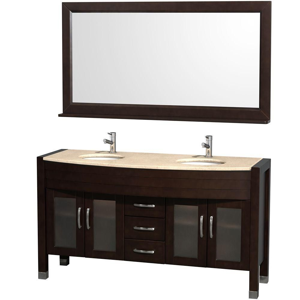 Daytona 60-inch W Double Vanity in Espresso with Marble Top in Ivory and Porcelain Undermount Sin...