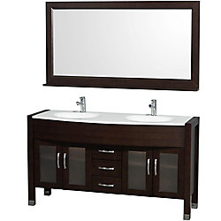Wyndham Collection Daytona 60-inch W 3-Drawer 4-Door Vanity in Brown With Artificial Stone Top in White, Double Basins
