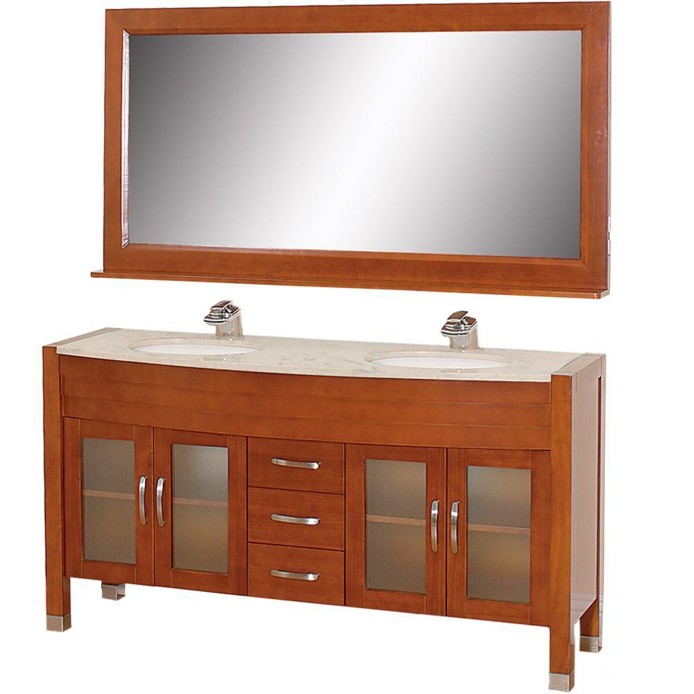 Daytona 63-inch W Vanity in Cherry with Double Basin Marble Top and Mirror