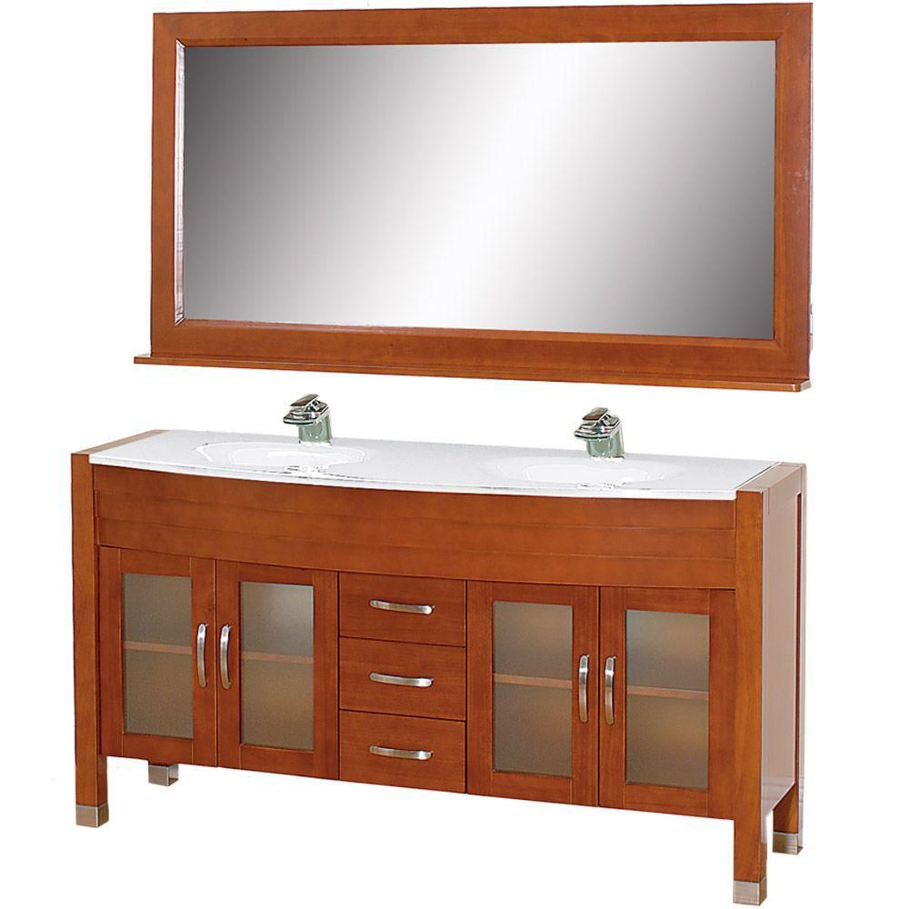Daytona 63-inch W Vanity in Cherry with Stone Top in White and Mirror