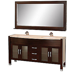 Wyndham Collection Daytona 63-inch W 3-Drawer 4-Door Vanity in Brown With Marble Top in Beige Tan, Double Basins