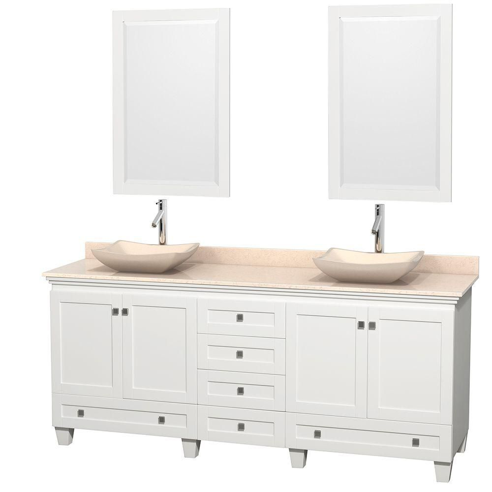 Acclaim 80-inch W Double Vanity in White with Top in Ivory, Ivory Sinks and Mirrors