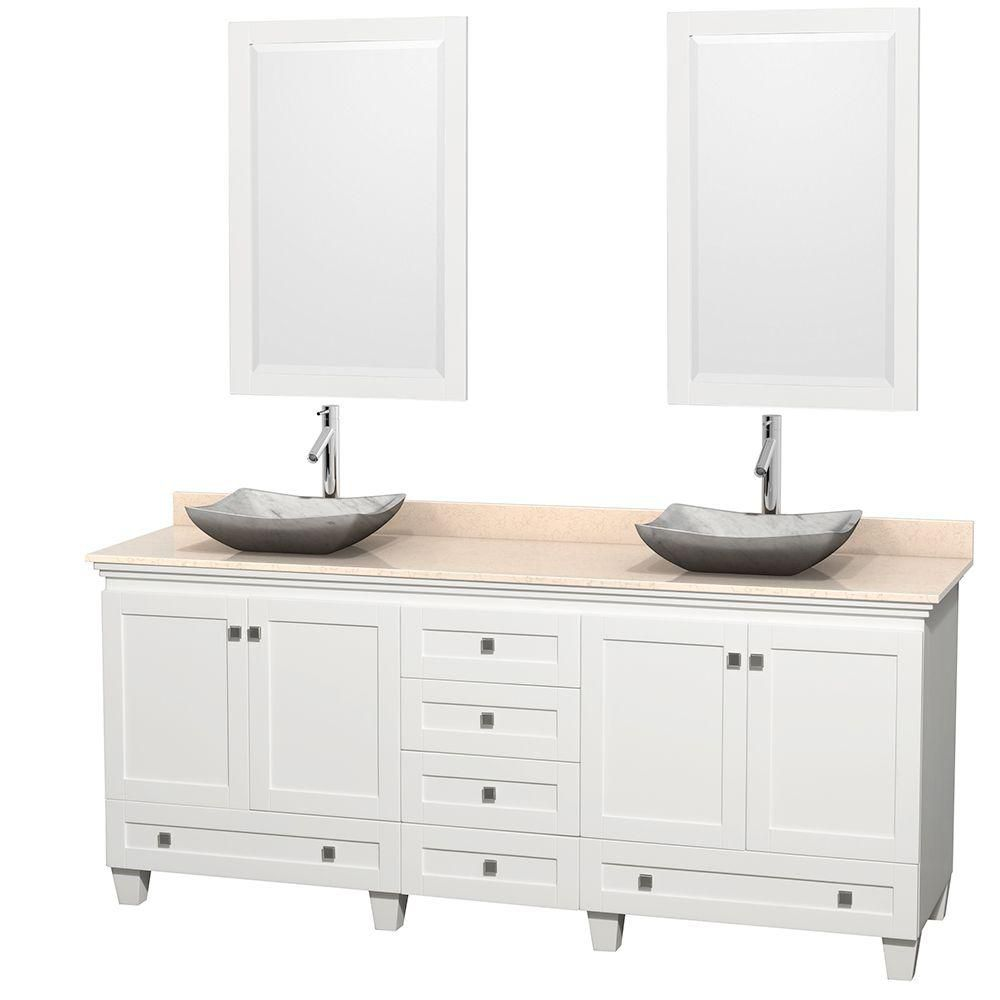 Acclaim 80-inch W Double Vanity in White with Top in Ivory, Carrara Sinks and Mirrors