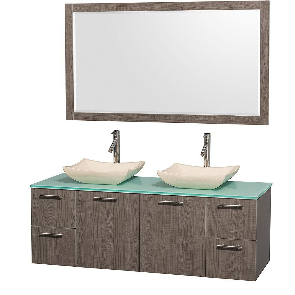 Amare 60 po Meuble dbl. chêne gris et revêtement en verre effet eau et éviers en marbre