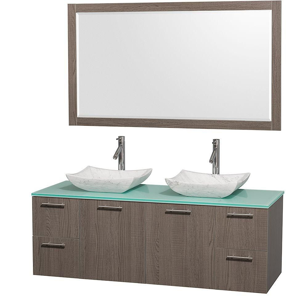 Amare 60-inch W Double Vanity in Grey Oak with Glass Top in Aqua and Carrara Marble Sinks