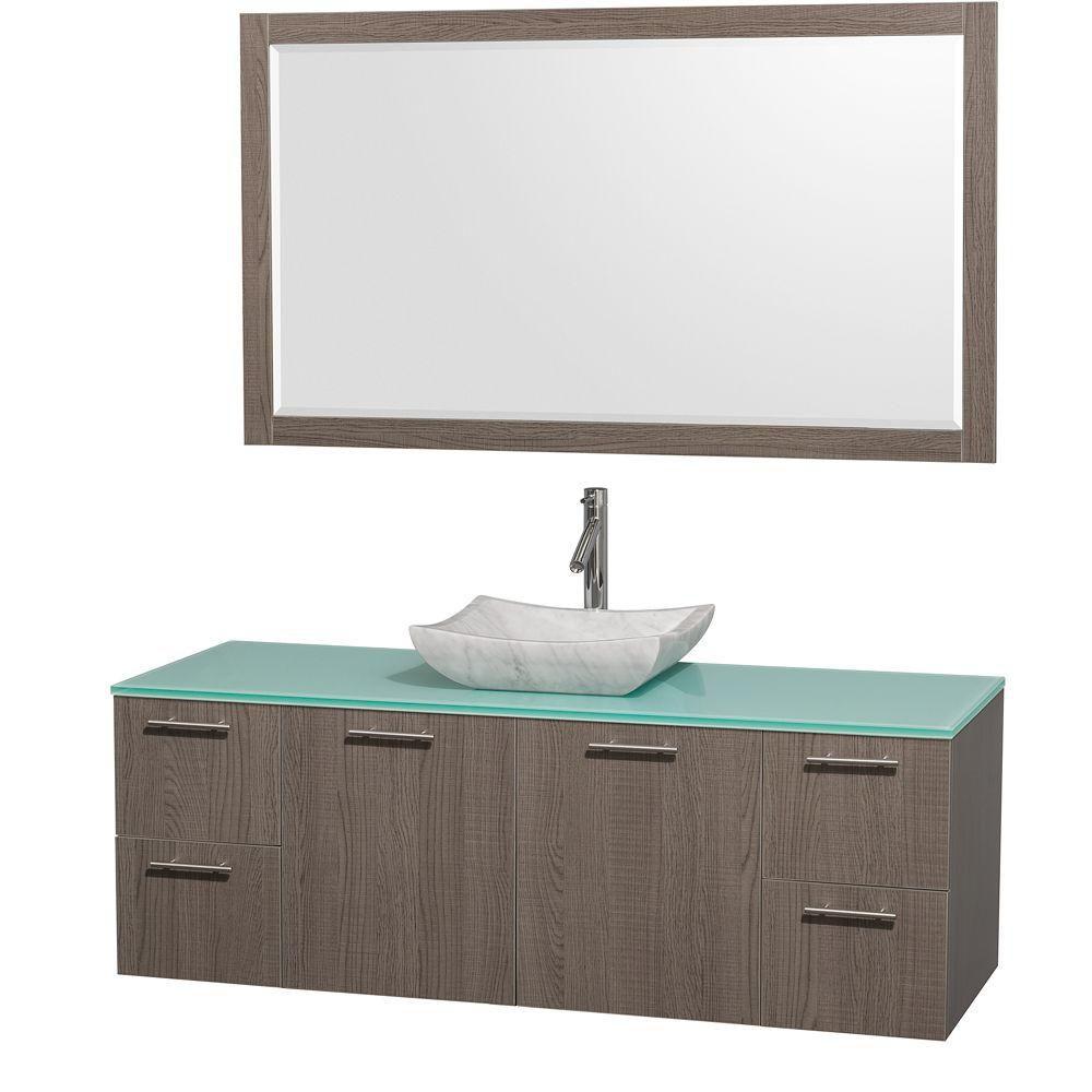 Amare 60 po Meuble chêne gris et revêtement en verre effet eau et évier en marbre de Carrare