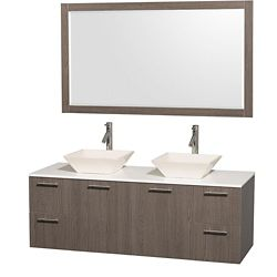 Wyndham Collection Amare 60-inch W 4-Drawer 2-Door Vanity in Grey With Artificial Stone Top in White, Double Basins
