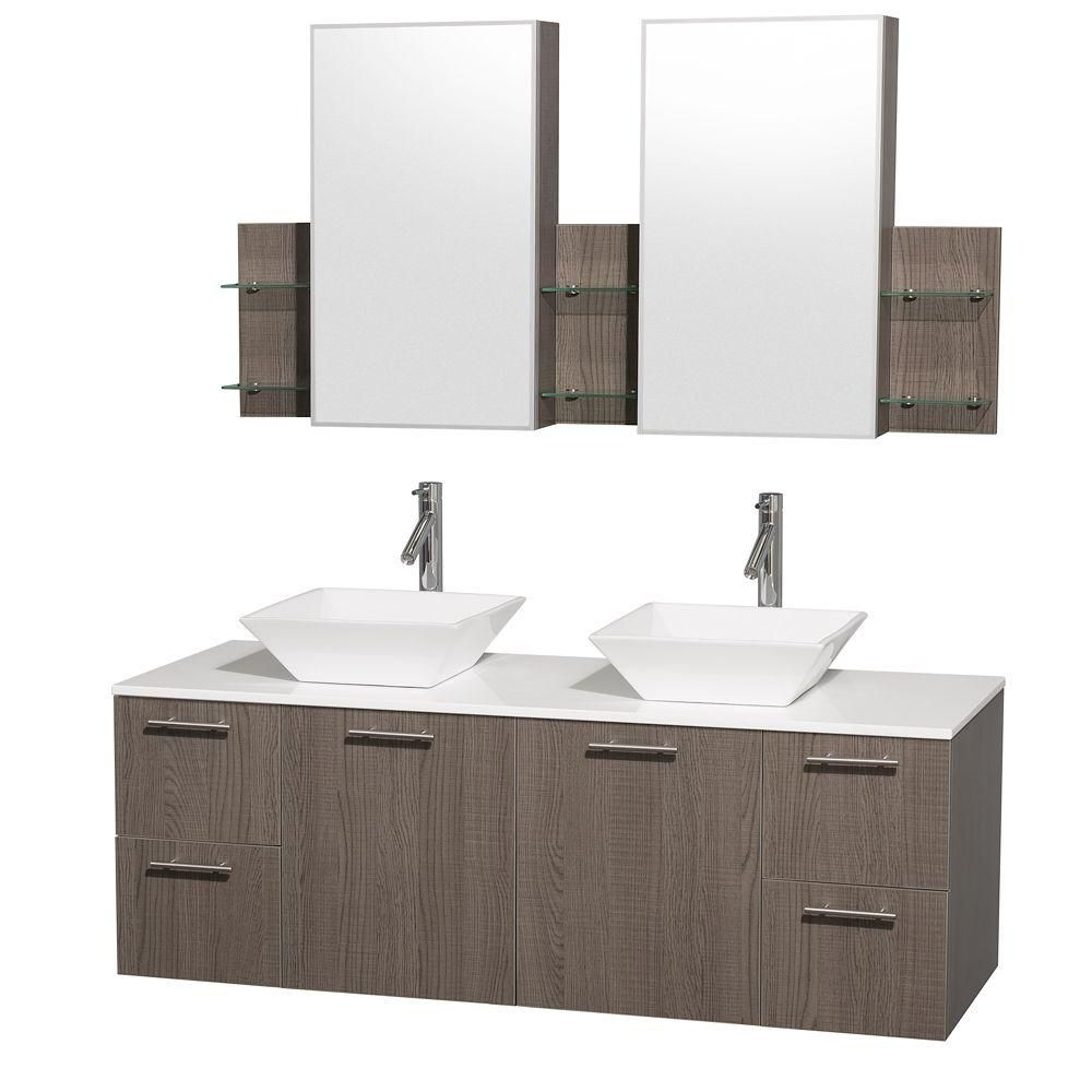 Amare 60-inch W Double Vanity in Grey Oak with Stone Top in White and Porcelain Sinks