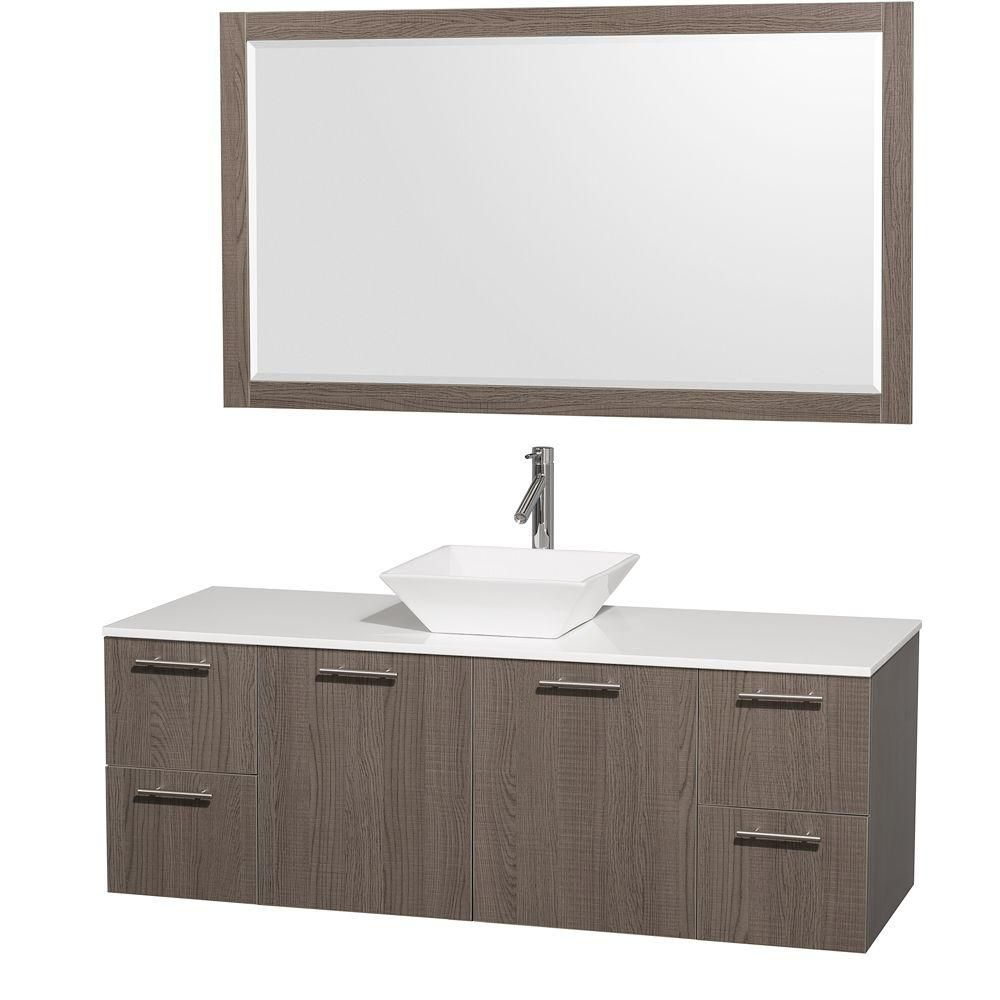 Amare 60-inch W Vanity in Grey Oak with Stone Top in White and Porcelain Sink