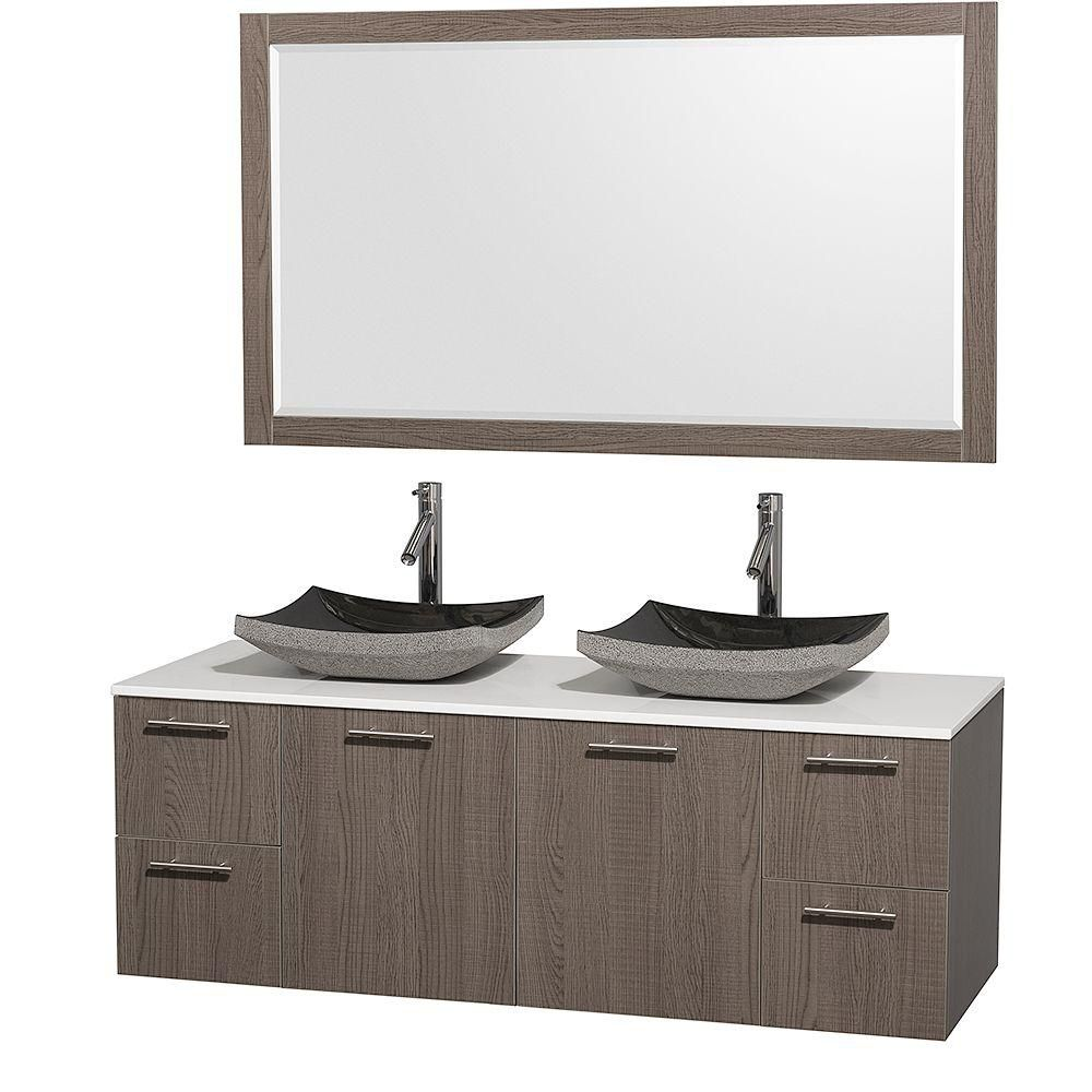 Amare 60-inch W Double Vanity in Grey Oak with Stone Top in White and Granite Sinks